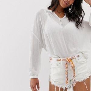 Free People Thrashed White Denim Sash Shorts